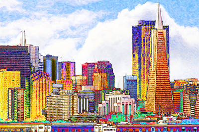 Boa Constrictor Digital Art - San Francisco Skyline Along The Embarcadero 5d29399 Photoart by Wingsdomain Art and Photography