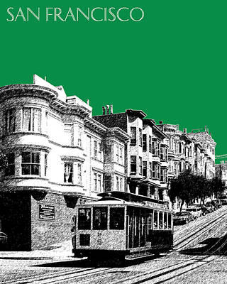 Pen Digital Art - San Francisco Skyline Cable Car 2 - Forest Green by DB Artist
