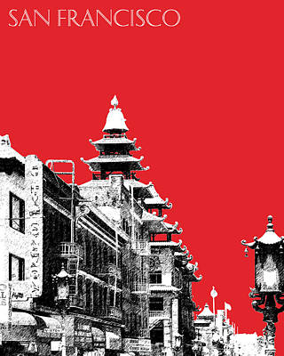 San Francisco Skyline Chinatown - Red Art Print by DB Artist