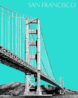 Golden Digital Art - San Francisco Skyline Golden Gate Bridge 2 - Aqua by DB Artist