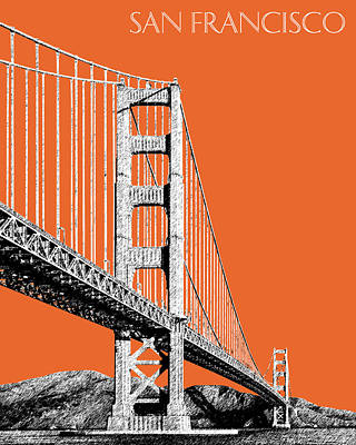 Digital Art - San Francisco Skyline Golden Gate Bridge 2 - Coral by DB Artist