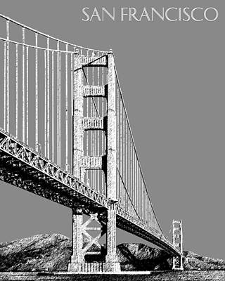 Tower Digital Art - San Francisco Skyline Golden Gate Bridge 2 - Pewter by DB Artist