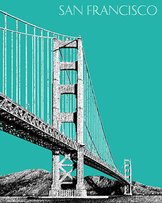 Golden Digital Art - San Francisco Skyline Golden Gate Bridge 2 - Teal by DB Artist