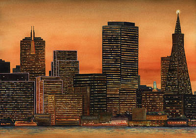 San Francisco Landscape Painting - San Francisco Skyline by Karen Wright