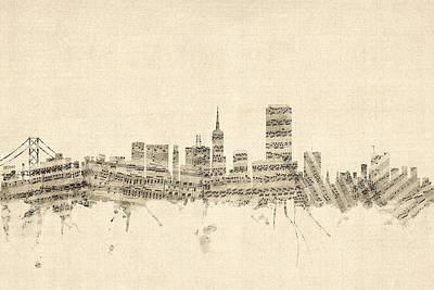 San Francisco Skyline Sheet Music Cityscape Print by Michael Tompsett
