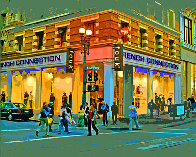 Digital Art - San Francisco Street Tourists by Joseph Coulombe