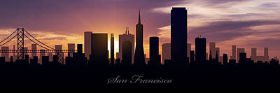 Skylines Drawings - San Francisco Sunset by Aged Pixel