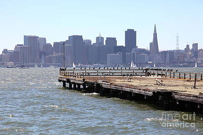 San Francisco Through The Treasure Island Pier 5d25350 Art Print by Wingsdomain Art and Photography
