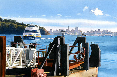 Skyline Painting - San Francisco Tiburon Ferry by Mary Helmreich