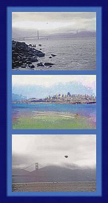 Metro Art Mixed Media - San Francisco Triptych - City Bay And Bridge by Steve Ohlsen