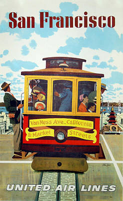 Airlines Mixed Media - San Francisco Trolley by David Wagner