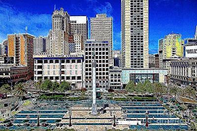 Hyatt Hotel Photograph - San Francisco Union Square 5d17938 Artwork by Wingsdomain Art and Photography
