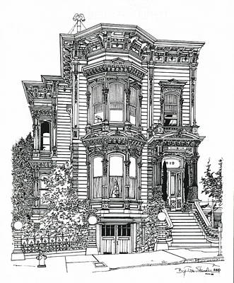 Art Print featuring the drawing San Francisco Victorian   by Ira Shander