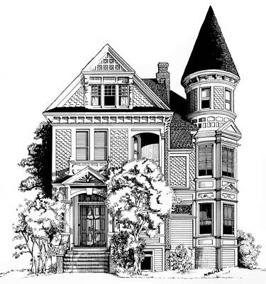 Pen And Ink Historic Buildings Drawings Drawing - San Francisco Victorian by Mary Palmer
