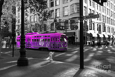 Trains Trollies And Buses - Art And Photograph - San Francisco Vintage Streetcar On Market Street - 5d19798 - Black And White And Violet by Wingsdomain Art and Photography