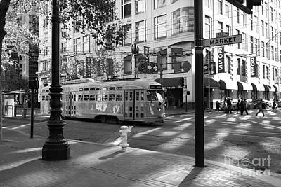 Trains Trollies And Buses - Art And Photograph - San Francisco Vintage Streetcar On Market Street - 5d19798 - Black And White by Wingsdomain Art and Photography
