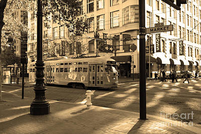 Trains Trollies And Buses - Art And Photograph - San Francisco Vintage Streetcar On Market Street - 5d19798 - Sepia by Wingsdomain Art and Photography