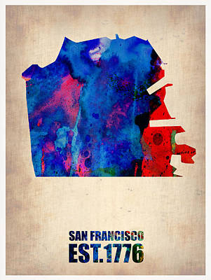 California Maps Painting - San Francisco Watercolor Map by Naxart Studio