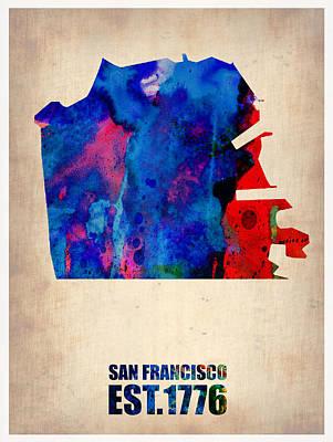 California Map Painting - San Francisco Watercolor Map by Naxart Studio