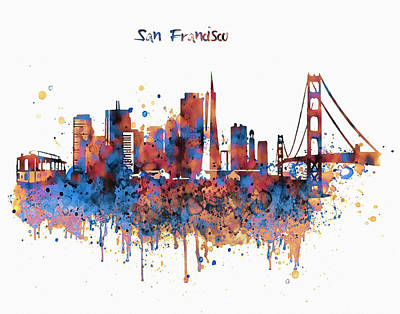 Skyline Mixed Media - San Francisco Watercolor Skyline by Marian Voicu