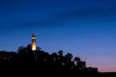 San Francisco's Coit Tower At Night Art Print by SFPhotoStore