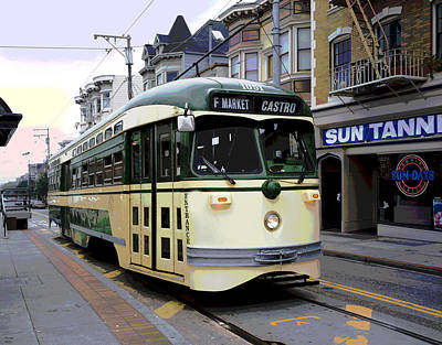City Sunset Mixed Media - San Francisco's F Line by Charles Shoup