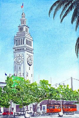 Painting - San Francisco's Ferry Building by Mike Robles