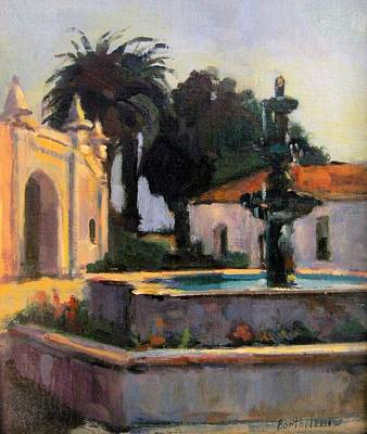 San Gabriel Mission Playhouse Fountain Art Print by Karla Bartholomew