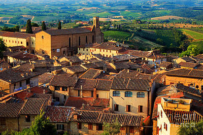 Tuscan Hills Photograph - San Gimignano From Above by Inge Johnsson