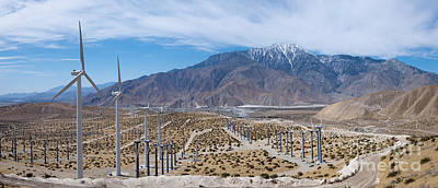 Photograph - San Gorgonio Pass Palm Springs Wind Turbine Panorama by David Zanzinger