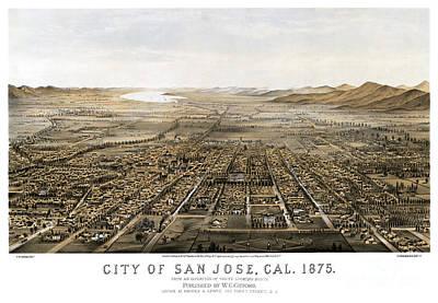Old Map Painting - San Jose - California - 1875 by Pablo Romero