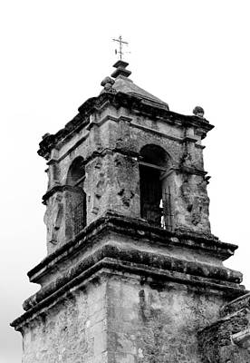 Photograph - San Jose Bell Tower Bw by Mary Bedy