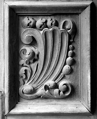 Photograph - San Jose Door Detail Bw 1 by Mary Bedy