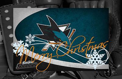 San Jose Sharks Christmas Art Print by Joe Hamilton