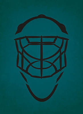 San Jose Sharks Goalie Mask Art Print by Joe Hamilton