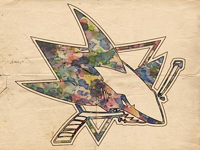 Painting - San Jose Sharks Hockey Poster by Florian Rodarte