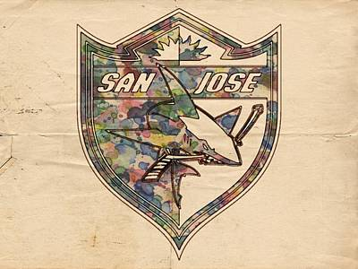 Nhl Painting - San Jose Sharks Retro Poster by Florian Rodarte