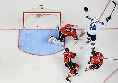 Scoring Photograph - San Jose Sharks V Calgary Flames by Derek Leung