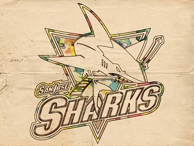 Reef Shark Wall Art - Painting - San Jose Sharks Vintage Poster by Florian Rodarte