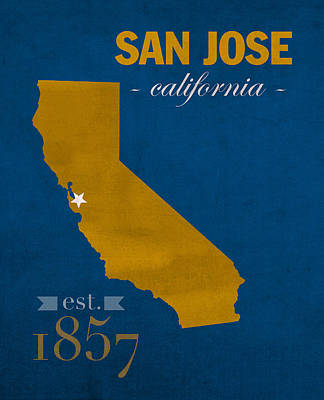 San Jose Wall Art - Mixed Media - San Jose State University California Spartans College Town State Map Poster Series No 094 by Design Turnpike