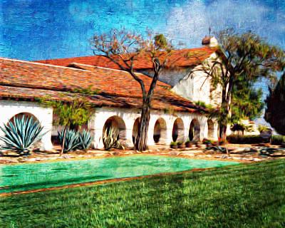 San Juan Bautista Refecting Pool Art Print by Ken Evans