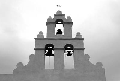 Photograph - San Juan Bell Tower Bw by Mary Bedy