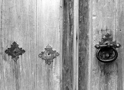 Photograph - San Juan Door Detail 3 Bw by Mary Bedy