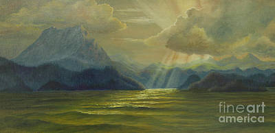Sun Rays Painting - San Juan Islands by Jeanette French