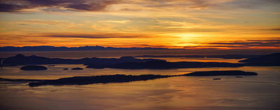 Orca Photograph - San Juans Island Sunset Light by Mike Reid