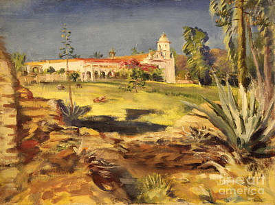 Painting - San Luis Rey Mission 1947 by Art By Tolpo Collection