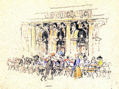 Quadri Photograph - San Marco Square Cafe 1901 by Padre Art
