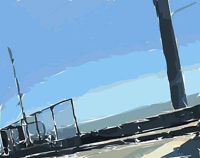 Bay Area Digital Art - San Mateo Bridge by Nolan Schoichet
