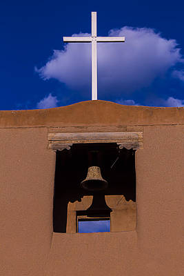 San Miguel Church Bell And Cross Art Print by Garry Gay