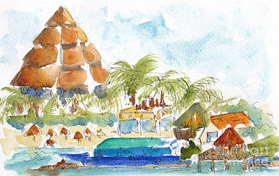 Painting - San Miguel Cozumel Waterfront by Pat Katz
